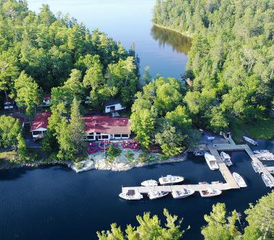 Aerial View Of Main Lodge Dock And Lake