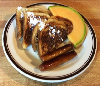 French Toast, Sausages and Melon for Breakfast
