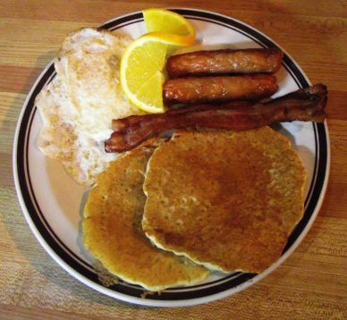 Pancakes, Bacon, Sausage and Eggs for Breakfast
